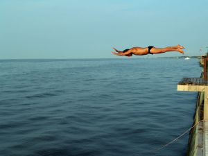 Jump to water, on the Great South Bay of Long Island