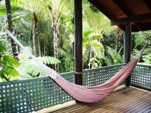 Hammock in a hut in the jungle