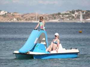 Pedal boat with waterslide