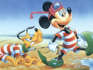 Mickey and Pluto go to the beach
