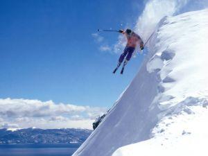 Ski jump in virgin snow