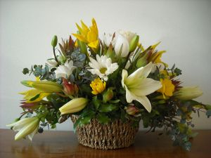 Basket with flowers varied