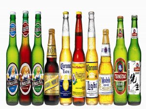Beer bottles of different brands