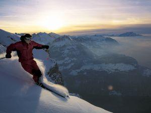 Skiing at dawn