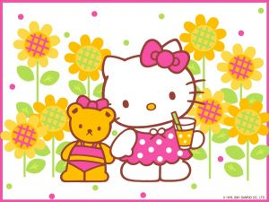 Hello Kitty taking a drink