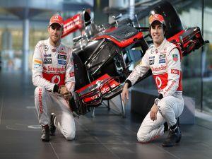 Jenson Button and Sergio Perez, F1 drivers of McLaren team (2013)