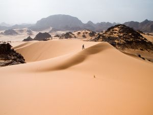 Walking through the sand dunes of western Libya