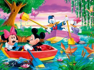 Mickey and his friends in a boat ride