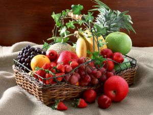 Basket with various fruits