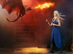 Daenerys Targaryen with a small dragon