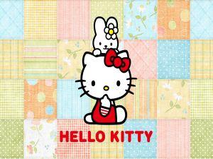 Hello Kitty on a fabrics background