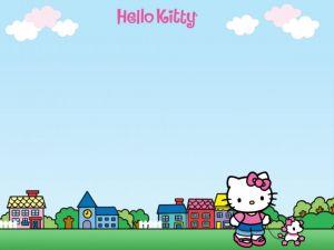 Hello Kitty walking a dog