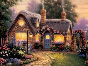 Cute house in spring