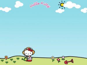 Hello Kitty watering the garden