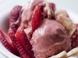 Strawberry ice cream with fruit