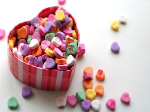 Candy hearts with message