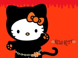 Hello Kitty dressed as vampire kitten