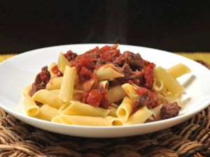 Penne Rigate with meat and tomato