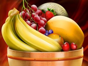Fruit bowl with bananas and other fruits