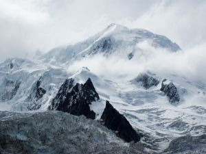 Summit of Mont Blanc viewed from the mouth of the glacier