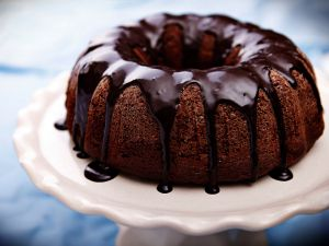 Bundt cake with liquid chocolate coating