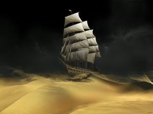 Boat sailing in the sand