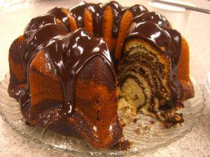 Zebra bundt cake, with chocolate frosting