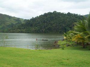 Canoe ride through the Azul Lake, San Martin, Peru