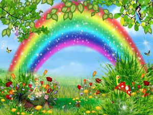 Fantasy garden with Tinkerbell and a beautiful rainbow (wallpaper 11536)