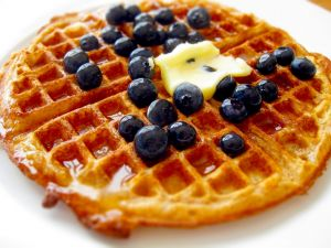 Waffle with natural blueberries