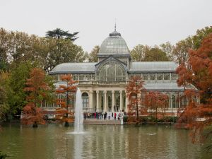 Autumnal view of the Crystal Palace, in the Retiro Gardens, Madrid, Spain