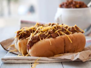 Hot dog with chili and cheese