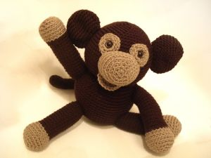 Crochet doll with monkey shaped