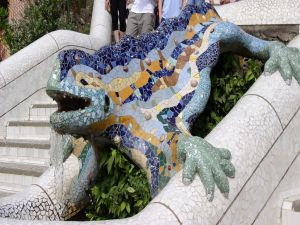 Artistic work of Antoni Gaudi, in Park Guell in Barcelona