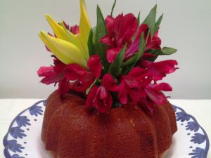 Bundt cake decorated with flowers