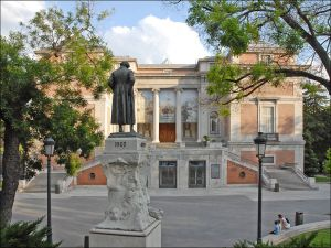 Monument to Goya in front of the north facade of the Museo del Prado (Madrid, Spain)