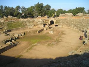 Arena of the Roman Amphitheater of Merida, in Spain