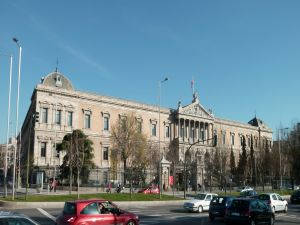 Facade of the National Library of Spain, in Madrid