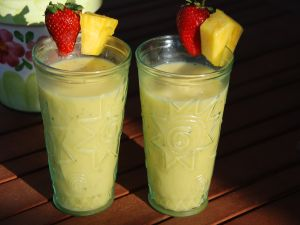 Shakes of pineapple and strawberry