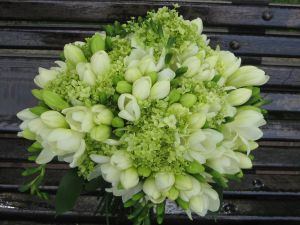 Bridal bouquet with white freesias