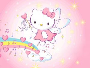 Hello Kitty in the rainbow