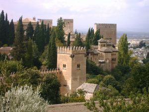 The Alhambra seen from the Gardens of the Generalife (Granada, Spain)