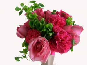 Carnations and roses, pink colored, with green leaves