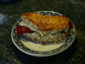 "Puff pastry with peppers and anchovy (""tapa"" in Salamanca, Spain)"
