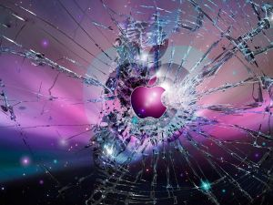 Apple. Glass broken