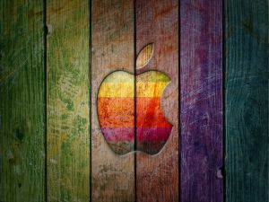Apple, in colored wood