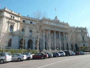Facade of the Palacio de la Bolsa de Madrid (Spain)