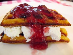 Waffle filling of cheese and raspberry sauce
