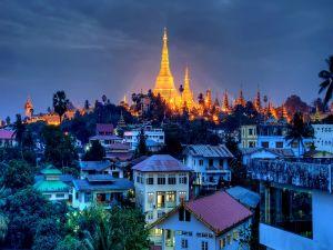 Lights of a city at dusk