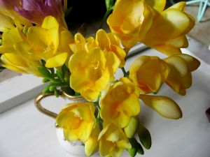 Vase with yellow freesias
